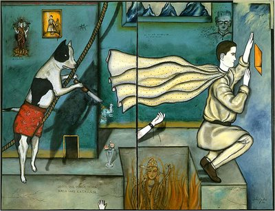 Mientras me despierto, 1985, diptych, oil on canvas, 200 by 254 centimeters