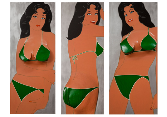 """Green Triptych"" by Marjorie Strider, 1963, acrylic paint, laminated pine on masonite panels, 105 x 72 inches Courtesy of the Artist/Collection of Michael T Chutko, Photography by Randal Bye"