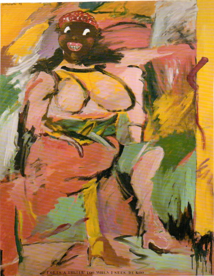 Robert Colescott, I Gets A Thrill Too When I Sees Dekoo, 1978, acrylic on canvas, 84 by 60 inches. Collection Rose Art Museum.