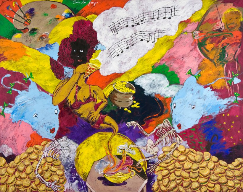 Robert Colescott, Ode to Joy, 1997, 90 by 114 inches, acrylic on canvas. Courtesy Kravets/Wehby, New York.