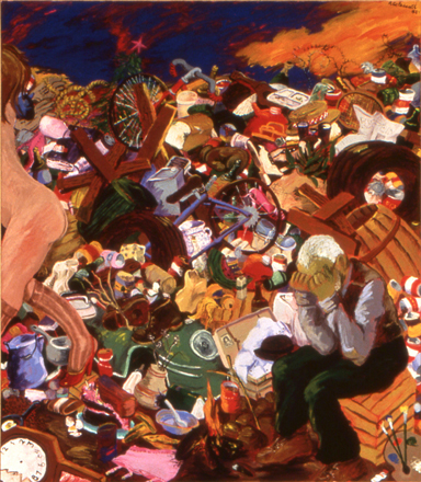 Robert Colescott, Down in the Dumps (So Long Sweet Heart, 1983, 84 by 72 inches, acrylic on canvas. Courtesy Kravets/Wehby, New York.