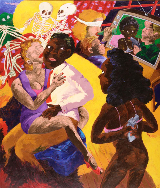 Robert Colescott, Saturday Night Special (I seen it on TV), 1988, acrylic on canvas. Courtesy Chrysler Museum of Art, Norfolk, Virginia.