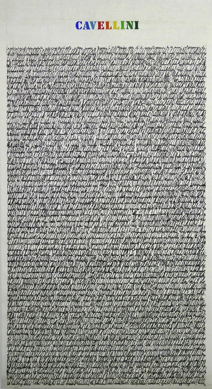 Guglielmo Achille Cavellini, Scrittura su Tela, 1973, 58 by 46 inches. Courtesy Lynch Tham, New York.