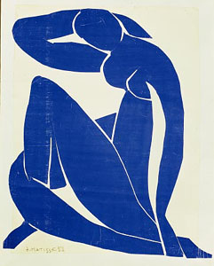 Henri Matisse, Blue Nude II, 1953, gouache on paper mounted on canvas, 45 by 35 inches.