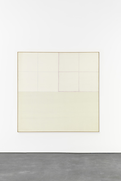 James Bishop, Having, 1970, oil on canvas, 77 by 77 inches. Courtesy David Zwirner Gallery.