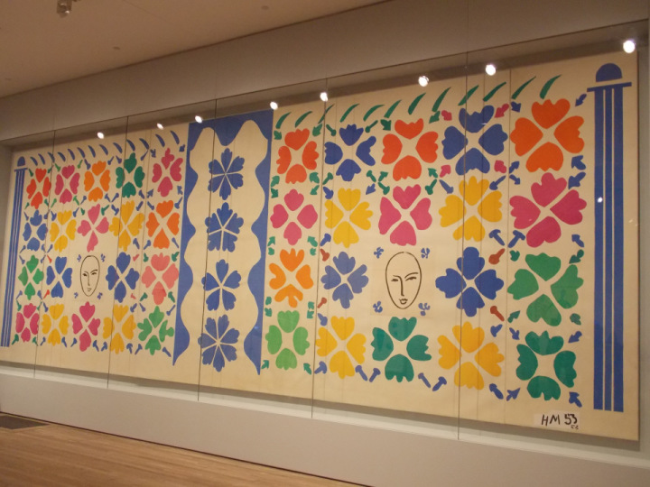 Henri Matisse, Large Decoration with Masks, 1953, gouache on paper, cut and pasted on white paper, mounted on canvas overall (five joined panels): 139 3/16 by 392 5/16 in. National Gallery of Art, Washington. D.C.