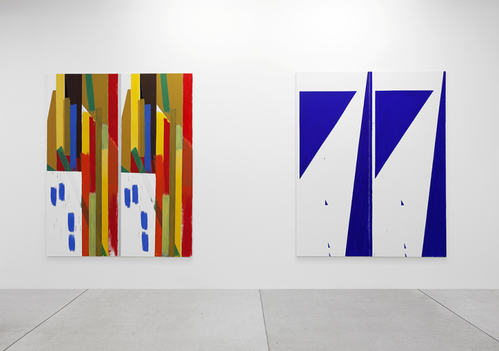 View of Bernard Piffaretti exhibition at Galerie Frank Elbaz, Paris, 2014.