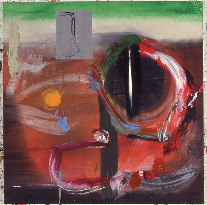 Stephen Mueller, A.W. Takes a Bow, 1987, acrylic on canvas, 48 by 48 inches. Courtesy Lennon, Weinberg Gallery, New York, and the Estate of Stephen Mueller.