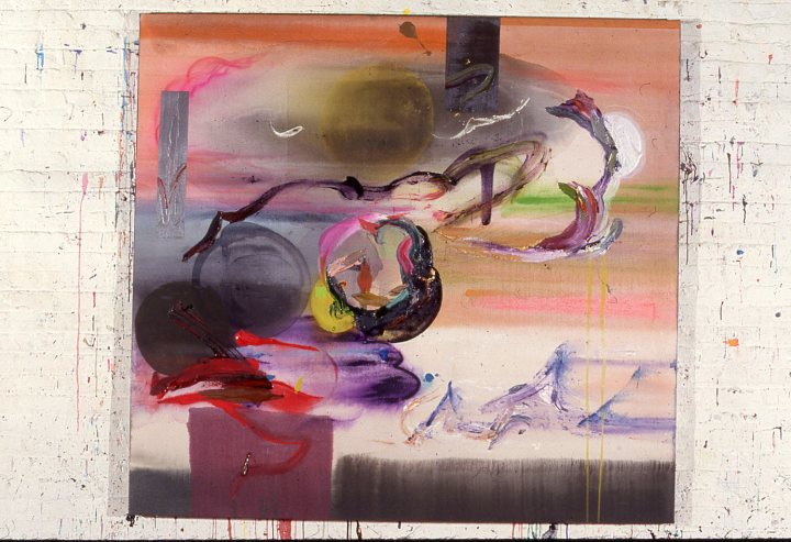 Stephen Mueller, Meltami, 1987, acrylic and pigment on canvas, 70 by 76 inches. Courtesy Lennon Weinberg Gallery, New York, and the Estate of Stephen Mueller.