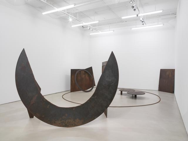 View of Melvin Edwards, Homage to the Poet Léon-Gontran Damas (1978-81), welded steel, at Alexander Gray Associates, 2014.