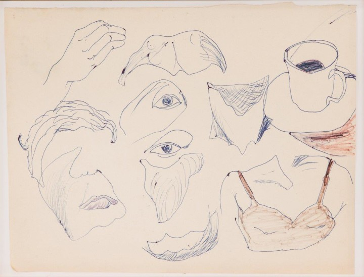 Chris Reinecke, Gesichtsgelle (mit Kaffeetasse), 1965, ballpoint pen and felt-tip pen on paper, 10 5/8 by 13 1/2 inches. Courtesy Beck & Eggeling, and Susanne Rennert, Düsseldorf.