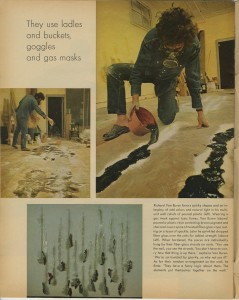 Page from Feb. 27, 1970, Life Magazine article showing Richard Van Buren working in studio,